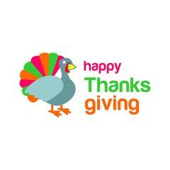 happy thanksgiving card. turkey chicken. vector. editable.