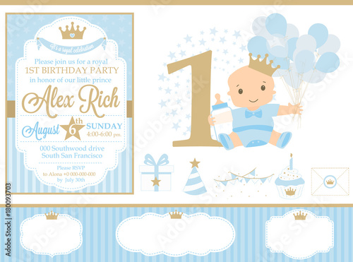 Cute Happy Birthday Card Template Elements First