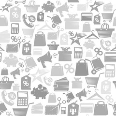 Grayscale sale theme pattern with set of shopping symbols