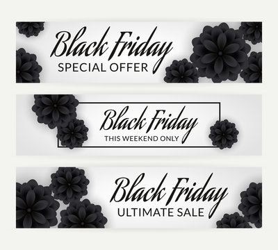 Set of black friday sale banners with flowers.