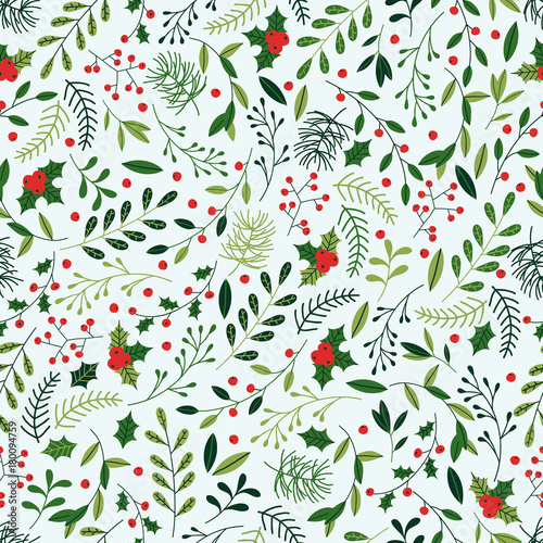 Seamless Christmas Pattern With Mistletoe Spruce Branches Green Impressive Christmas Pattern
