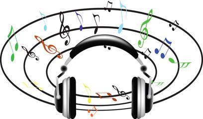 note musicali con cuffie per la musica