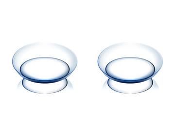 Realistic contact lenses on white background
