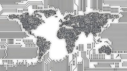 World map as computer circuit board