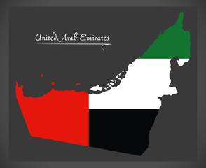 United Arab Emirates map with national flag illustration