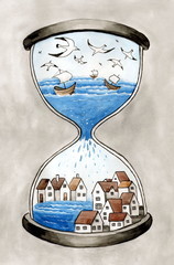 """Рисунок акварелью """"Морской город в песочных часах"""""""