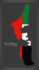 Ras al-Chaima map of the United Arab Emirates with national flag illustration