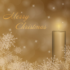 Christmas time. The first Advent with candle and Christmas landscape. Text : Merry Christmas.