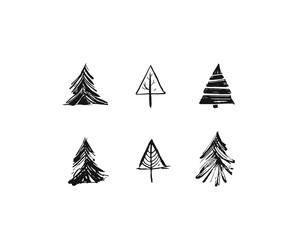 Hand drawn vector Merry Christmas rough freehand graphic greeting design elements collection set with ink scandinavian Christmas trees icons isolated on white background