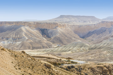 Wadis and craters of Israel desert.