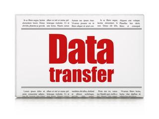 Information concept: newspaper headline Data Transfer on White background, 3D rendering