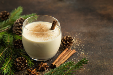 delicious winter eggnog with grated nutmeg and cinnamon for Christmas