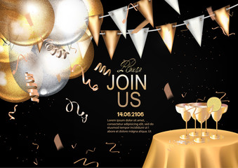 VIP INVITATION BANNER WITH GOLD DECO ELEMENTS AND PARTY OBJECTS. VECTOR ILLUSTRATION