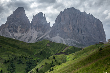 Wall Mural - Cloudy and rainy day in Italian Dolomites Alps. Beautiful mauntain landscape. South Tyrol. Italy
