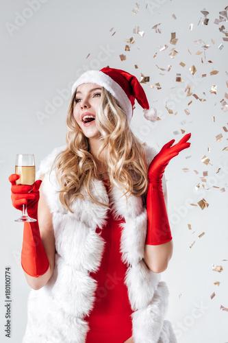 fcdbde63a9e9 Santa girl in a white fur coat