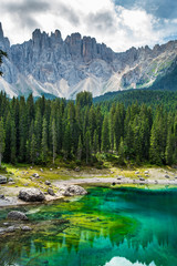 Wall Mural - Carezza lake (Lago di Carezza, Karersee). Dolomites Alps. South Tyrol. Italy