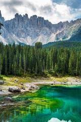 Fototapete - Carezza lake (Lago di Carezza, Karersee). Dolomites Alps. South Tyrol. Italy