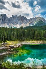 Fototapete - Carezza lake (Lago di Carezza, Karersee) in Dolomites Alps. South Tyrol. Italy