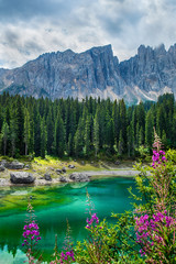 Fotomurales - Carezza lake (Lago di Carezza, Karersee) in Dolomites Alps. South Tyrol. Italy