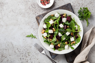 beetroot, arugula, feta cheese and walnut salad