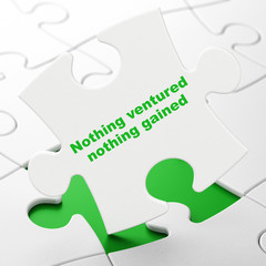 Business concept: Nothing ventured Nothing gained on White puzzle pieces background, 3D rendering