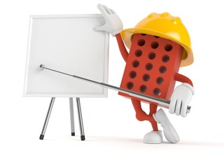 Brick character with blank whiteboard