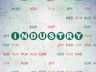 Finance concept: Painted green text Industry on Digital Data Paper background with Currency