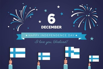 December 6th, Finland, Finnish Independence Day greeting card.   Celebration background with fireworks, flags and text. Vector illustration