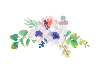 Flower arrangement made of anemones and eucalyptus on a white background. Watercolor illustration