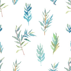 Seamless pattern with eucalyptus branches. Watercolor illustration
