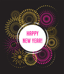 Happy New Year, Fireworks and celebration poster