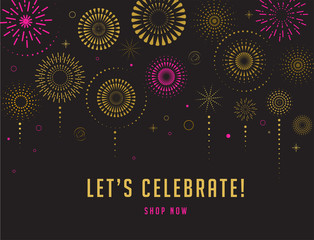 Fireworks and celebration background, winner, victory poster design