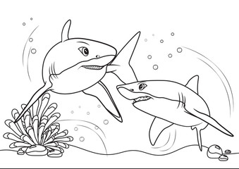 Sharks on the sea, line art coloring book