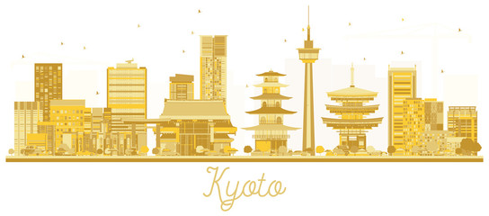 Kyoto Japan City skyline golden silhouette.