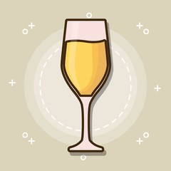 champagne glass icon over brown background colorful design vector illustration