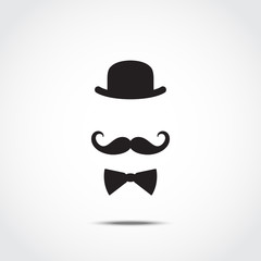 Stylized silhouette of english gentleman isolated on white background. Vector illustration.