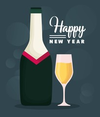 happy new year design with champagne bottle icon  colorful design vector illustration