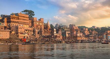 Poster India Historic Varanasi city with Ganges river ghat at sunrise