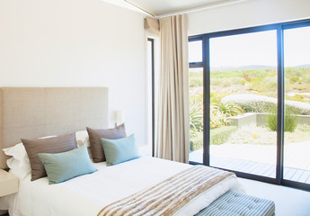 Luxury bedroom interior. Modern interior of a bedroom