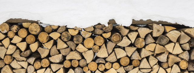 Poster Firewood texture Firewood Logs Covered with Snow. Winter Texture Pattern Background.