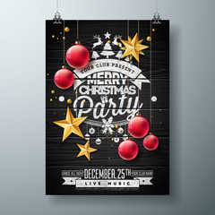 Vector Merry Christmas Party Design with Holiday Typography Elements and Ornamental Ball, Cutout Paper Star on Vintage Wood Background. Celebration Flyer Illustration. EPS 10.
