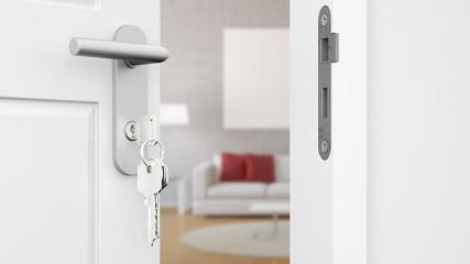 Tür mit Schlüssel vor Wohnzimmer