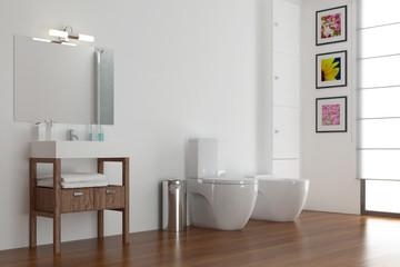 Badezimmer mit Waschbecken und WC und Bidet