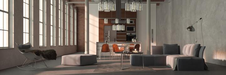 Sofa im Loft mit Wohnküche als Panorama