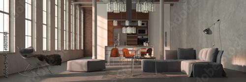 Sofa Im Loft Mit Wohnkuche Als Panorama Stockfotos Und Lizenzfreie
