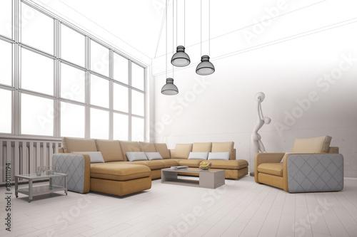 raumplanung von wohnzimmer im loft stockfotos und lizenzfreie bilder auf bild. Black Bedroom Furniture Sets. Home Design Ideas