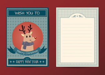 Merry Christmas vector character greeting card
