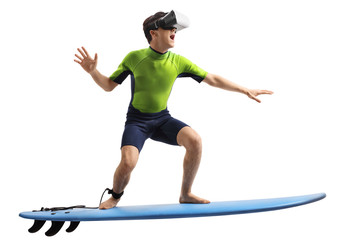 Teenage boy with a VR headset surfing