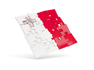 Puzzle flag of malta isolated on white