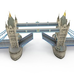 Famous Tower Bridge London, UK on white. 3D illustration